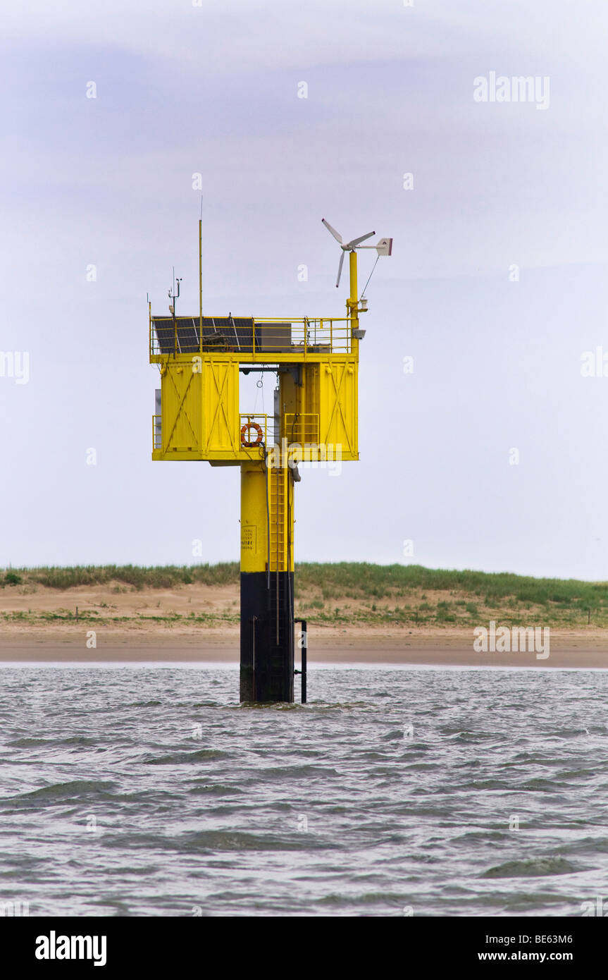 Weather monitoring station with solar modules near Spiekeroog Island, Nationalpark Niedersaechsisches Wattenmeer, - Stock Image