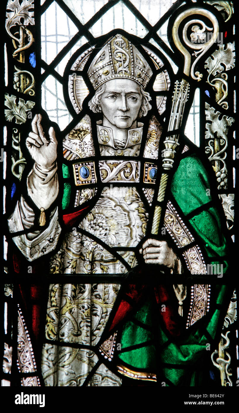 A Stained Glass Window Depicting Saint Wilfrid, St Wilfrid's Church Metheringham - Stock Image