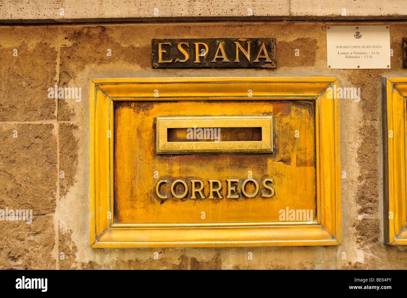 Nostalgic mailbox at the post office of Sóller, Majorca, Balearic Islands, Spain, Europe Stock Photo