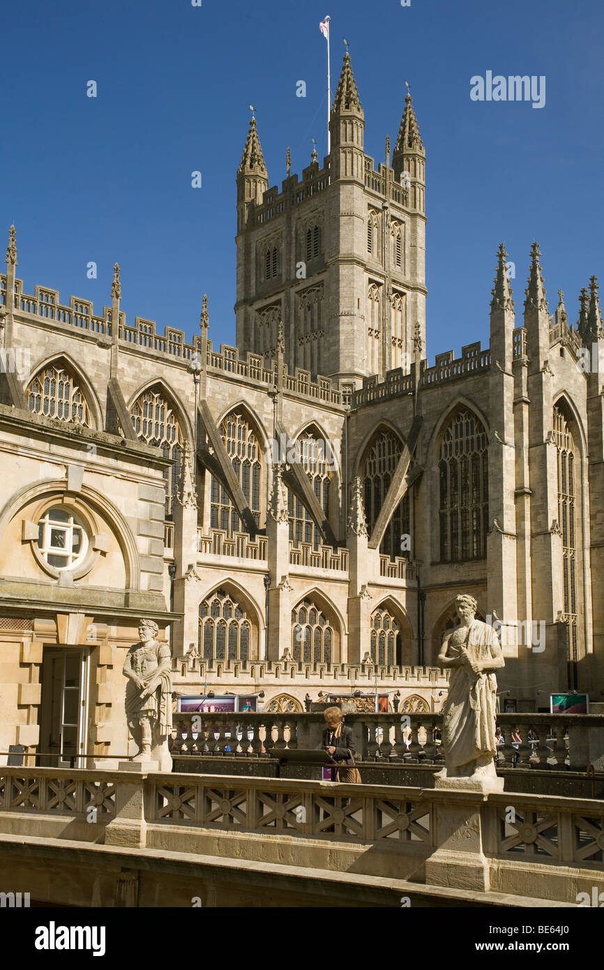 England Somerset Bath Abbey from Roman baths - Stock Image