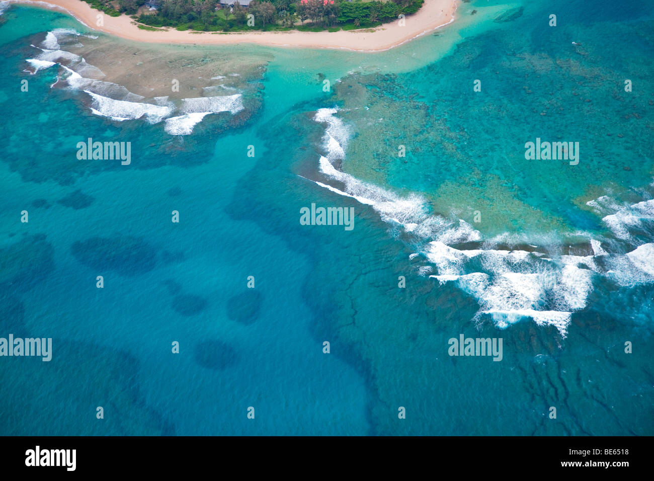 Tunnels Beach from the air. Kauai, Hawaii. - Stock Image