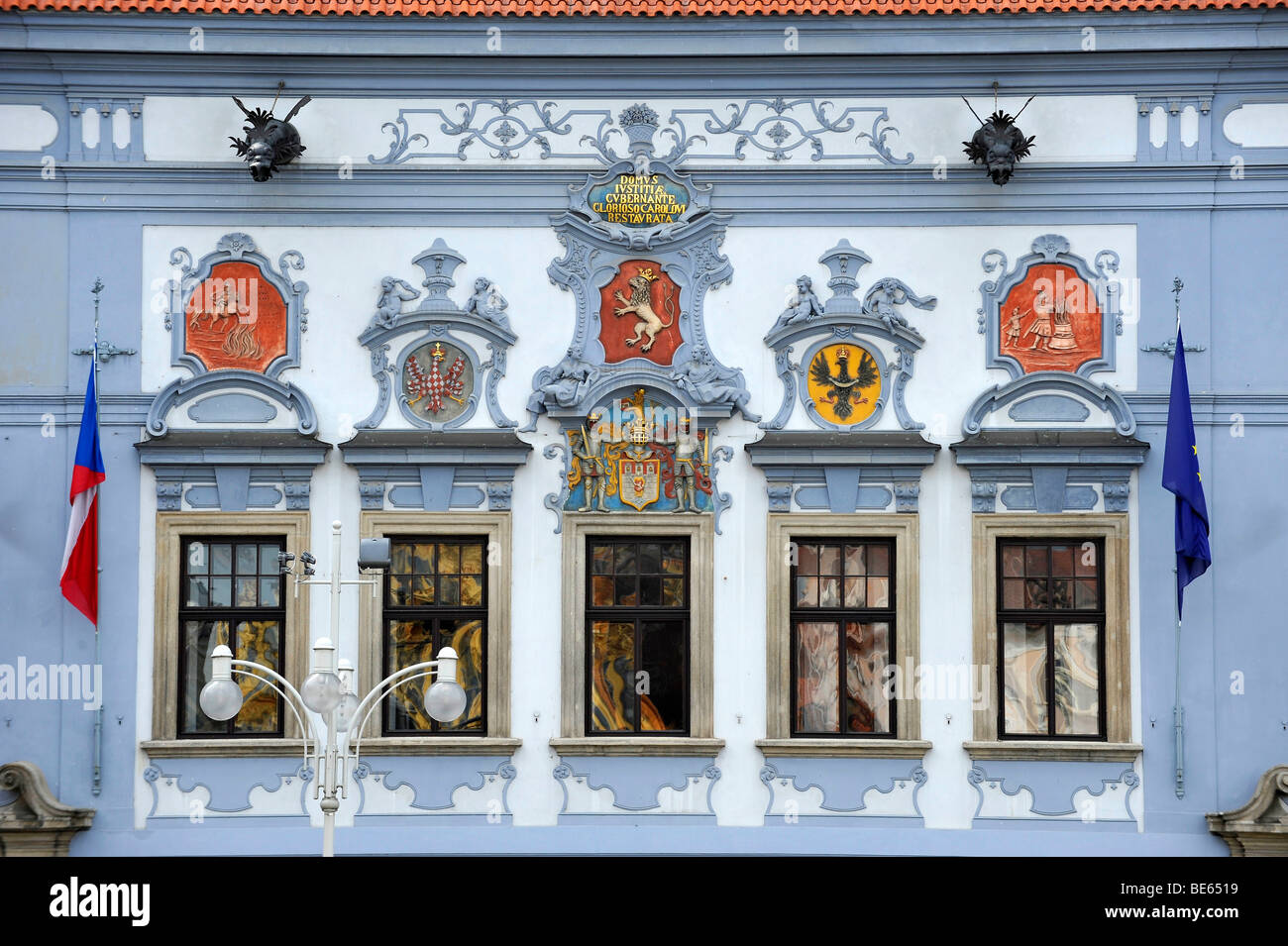 Historic Old Town, town hall and magistrate, Ceske Budejovice or Bohemian Budweis, Budvar, Bohemia, Czech Republic, - Stock Image