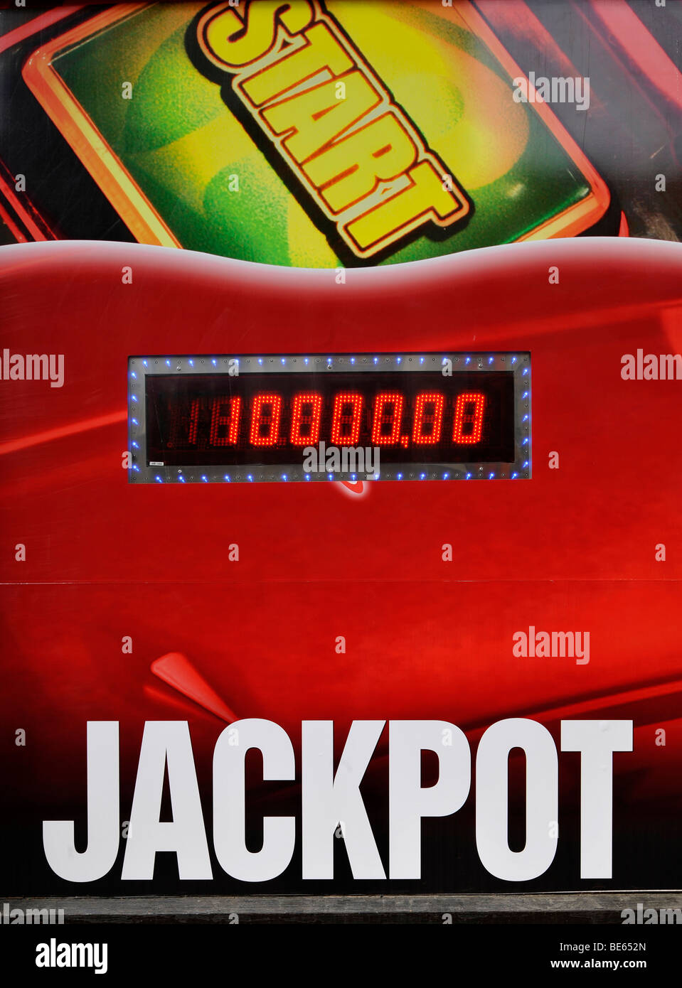 Jackpot, advertising in the casino, Ceske Budejovice, also Bohemian Budweis, Budvar, Bohemia, Czech Republic, Europe - Stock Image