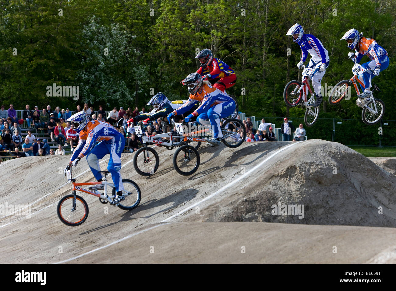 Six racing competitors at the BMX Supercross World Cup, Copenhagen, Denmark Stock Photo