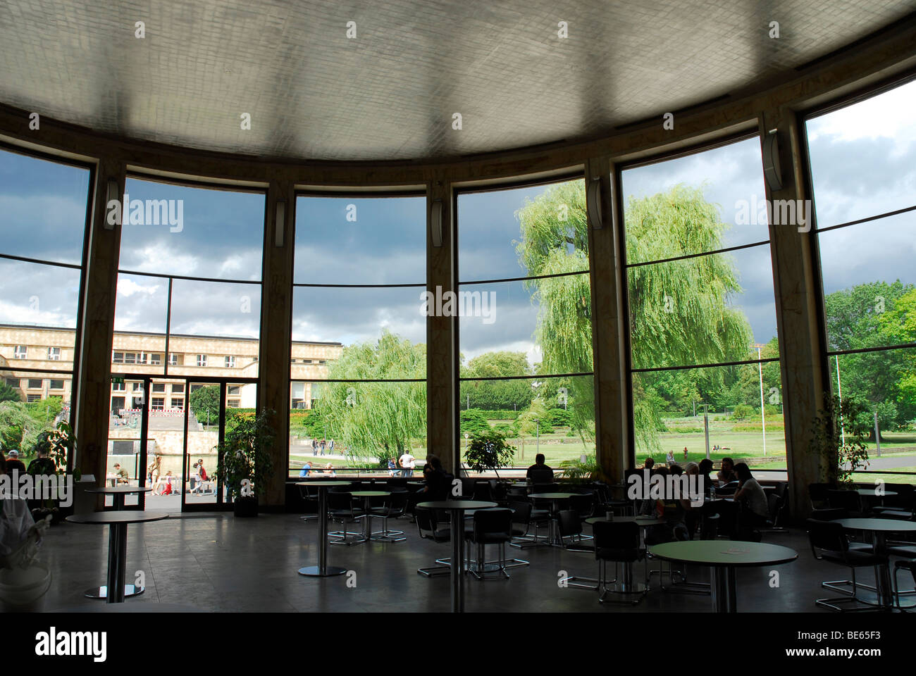 Cafe Rotunde in the Eisenhower Rotunda, Goethe University, Campus Westend, a former IG Farben building by architect Stock Photo