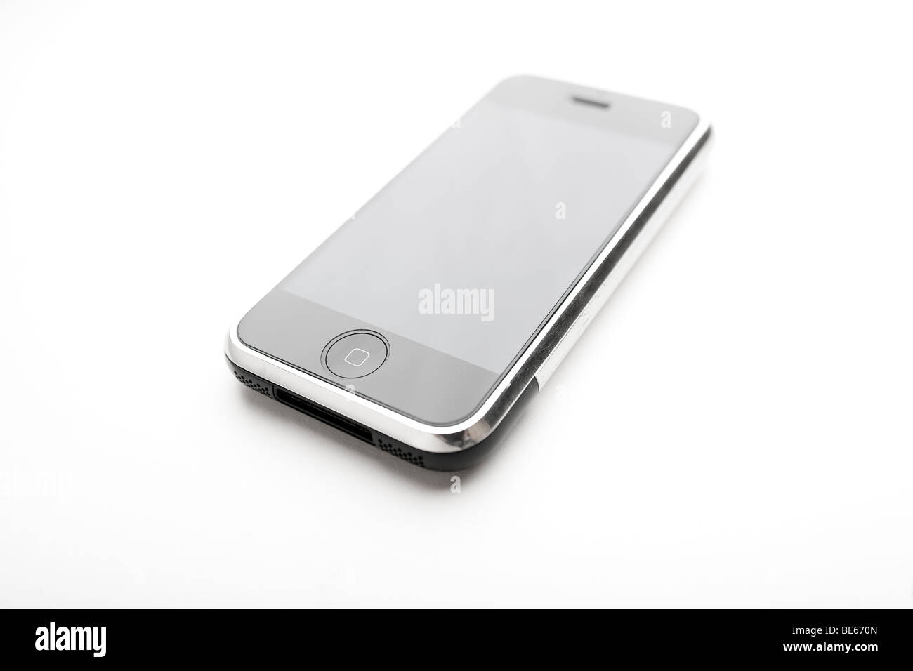 iPhone against white background - Stock Image