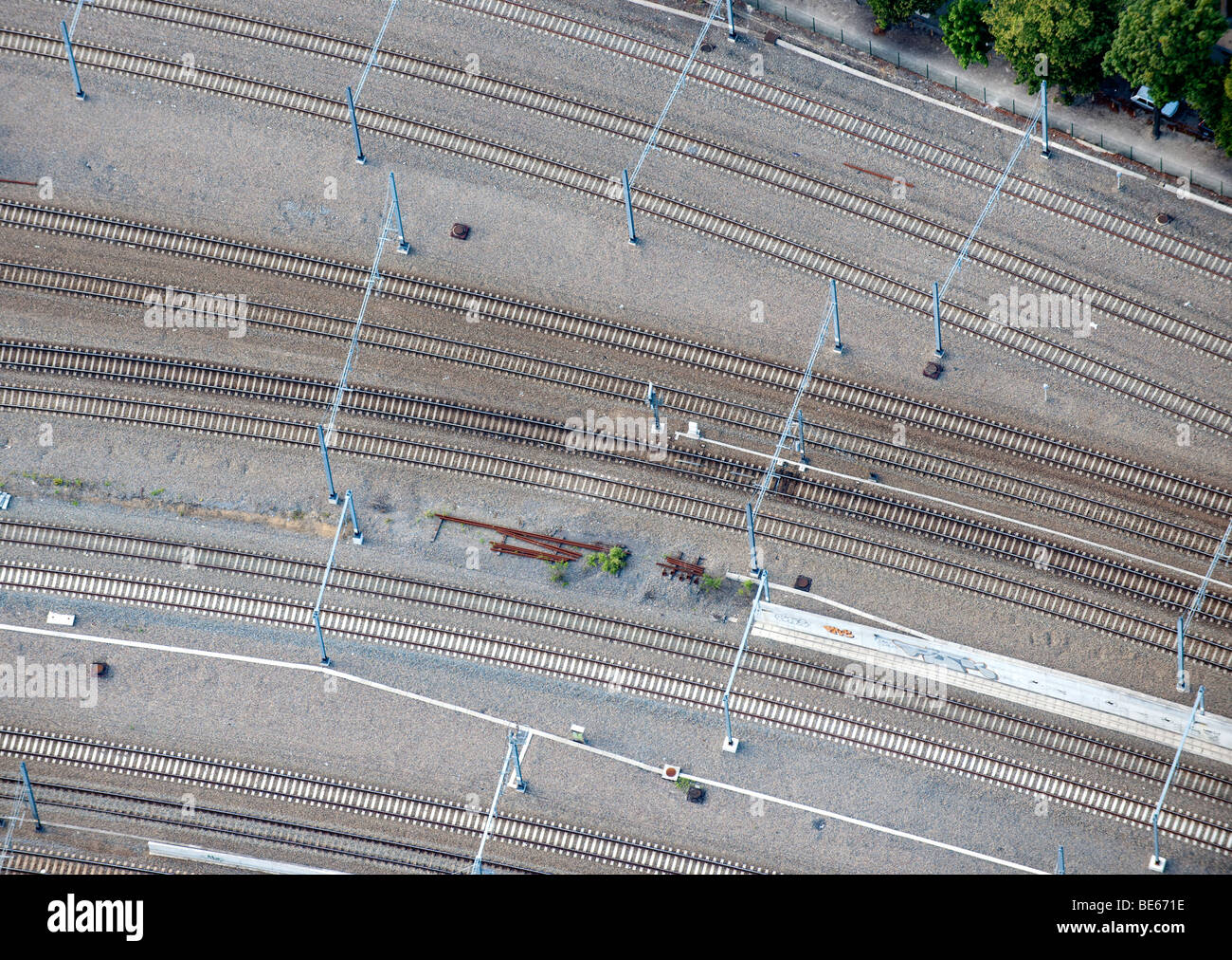 Aerial View : railways close up and catenary Stock Photo