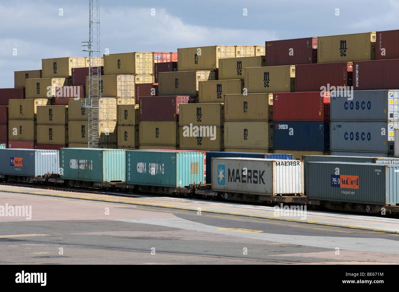 South Rail freight terminal, Port of Felixstowe, Suffolk, UK. Stock Photo