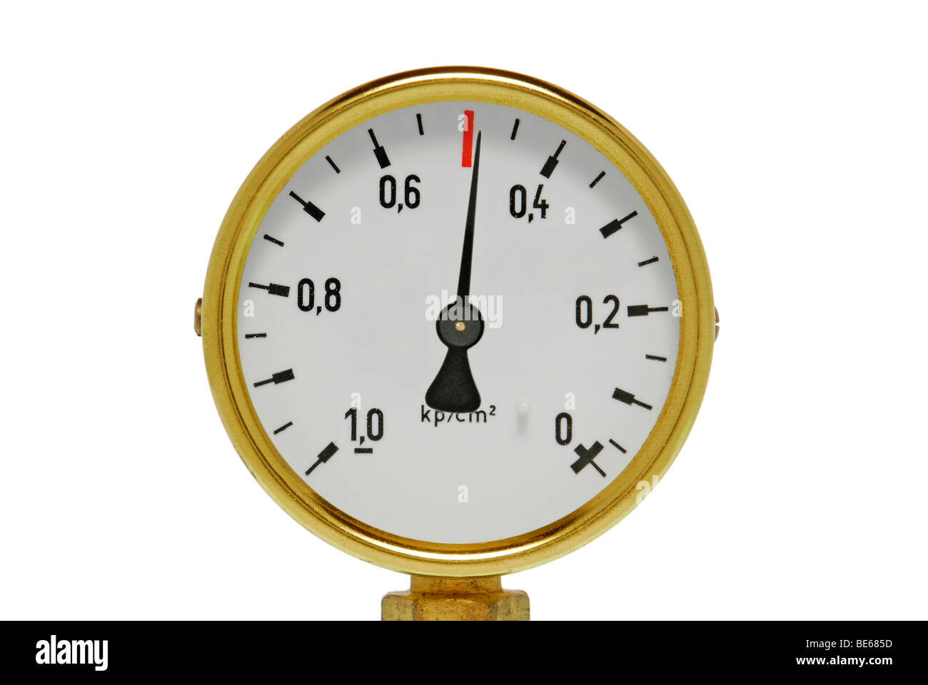 Pressure gauge, manometer just before over pressure, symbolic image for being under pressure - Stock Image