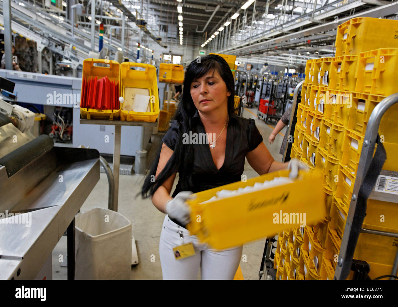 Nada Jumic works in the mail sorting center of the regional post office in Waiblingen, Baden-Wuerttemberg, Germany, Stock Photo