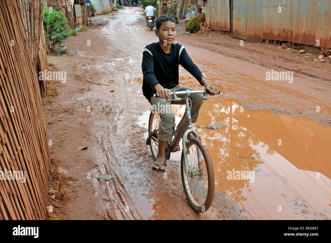 Street in the slums of Siem Reap, Cambodia, Asia Stock Photo