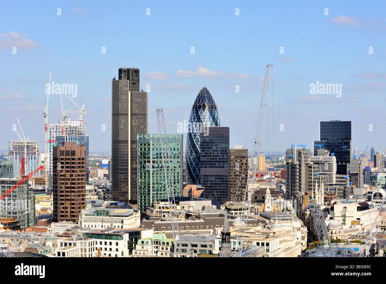 View over the city of London, construction cranes, England, United Kingdom, Europe - Stock Image