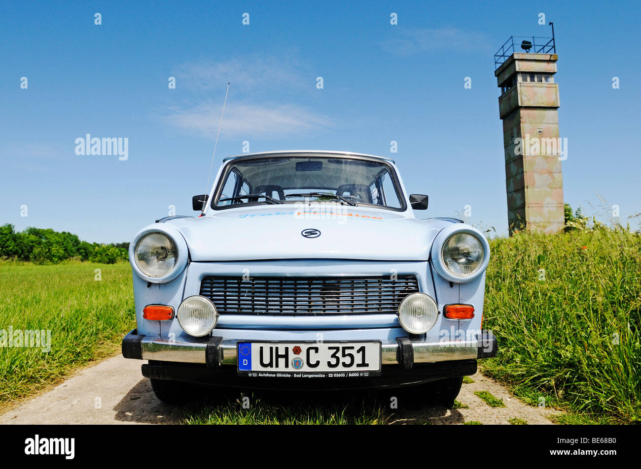 Trabi car in front of the observation tower of the GDR at the former inner-German border, Katharinenberg, Wendeleben, Stock Photo