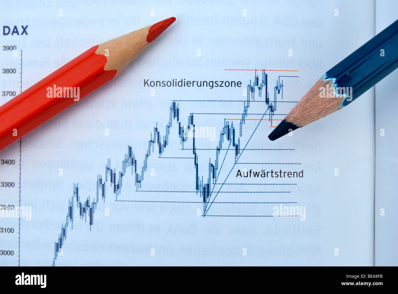 Economic crisis and boom, chart, German stock index, DAX with pens - Stock Image