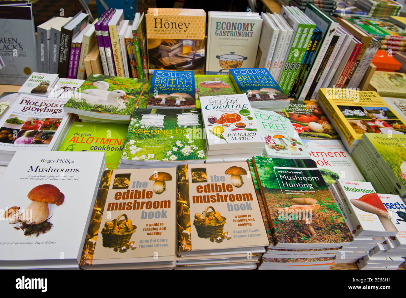 Various food and cookery books for sale on stall at Abergavenny Food Festival Monmouthshire South Wales UK - Stock Image