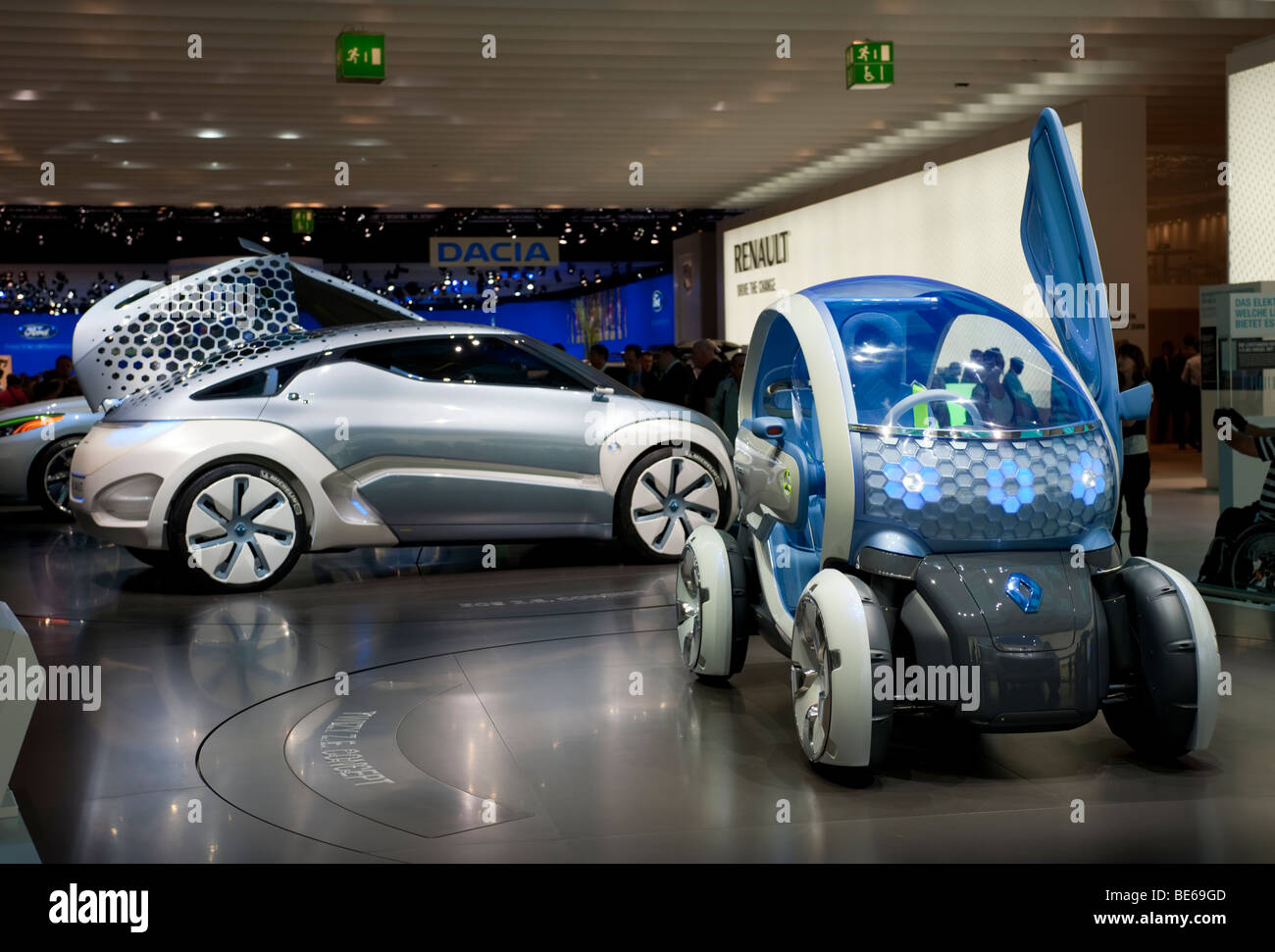 Renault Twizy ZE and Zoe Ze concept futuristic electric cars at Frankfurt Motor Show 2009 Stock Photo
