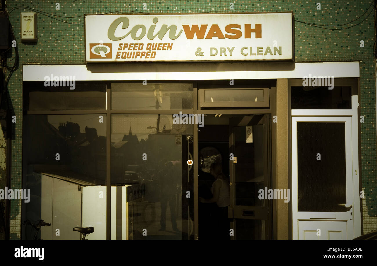Coin Wash launderette and dry clean - Stock Image