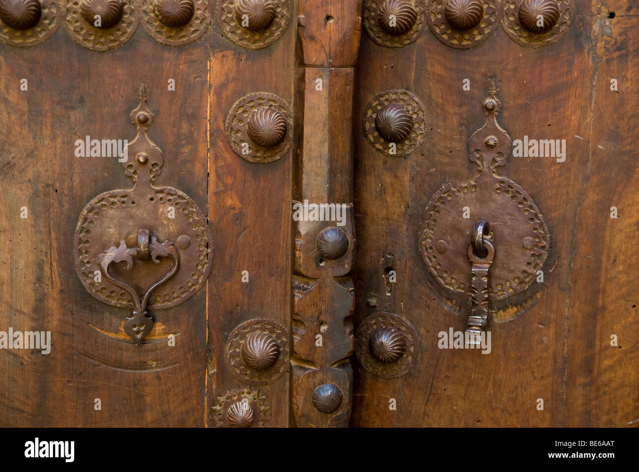 doorknockers, traditional house, Kashan, Iran - Stock Image