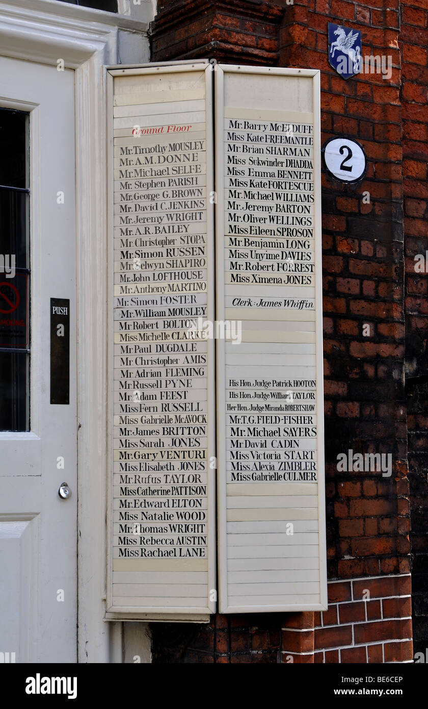 Names outside door at cloister, Inns Of Court, The Temple, London, England, UK - Stock Image
