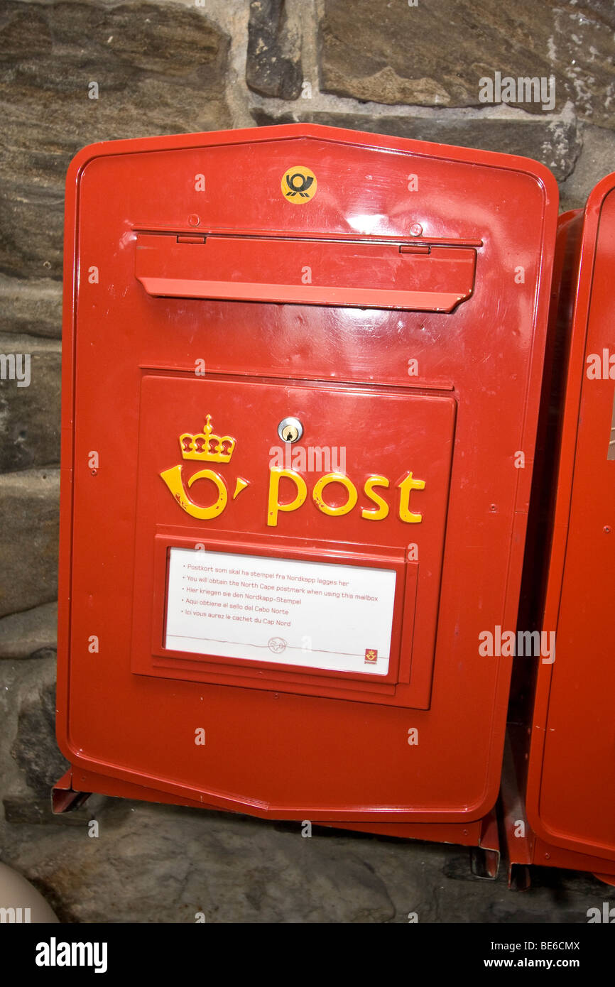 Northernmost postal boxes in Europe, located at the visitor center at North Cape, Europe's northernmost point - Stock Image