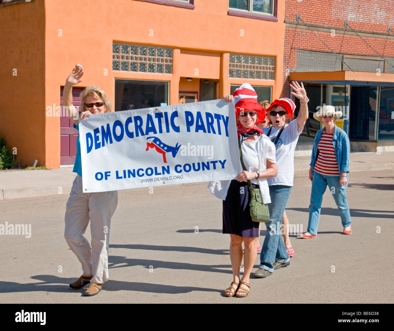 The Lincoln County New Mexico Democrat Party is out in full force, at the Street Festival in Carrizozo, New Mexico. - Stock Image