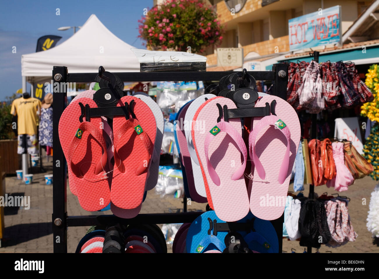 6698f266f261 Flip Flops for sale at a beach front shop in Lacanau Ocean on the Atlantic  south west coast of France in the Bordeaux Region