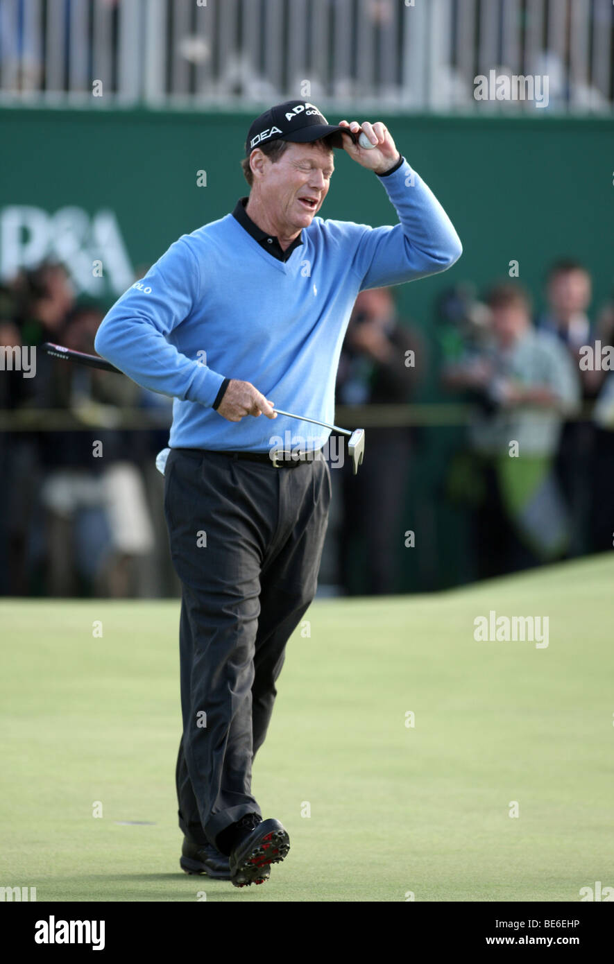 TOM WATSON MISSES PUTT ON 18TH THE OPEN TURNBERRY 2009 TURNBERRY AYRSHIRE SCOTLAND 19 July 2009 - Stock Image