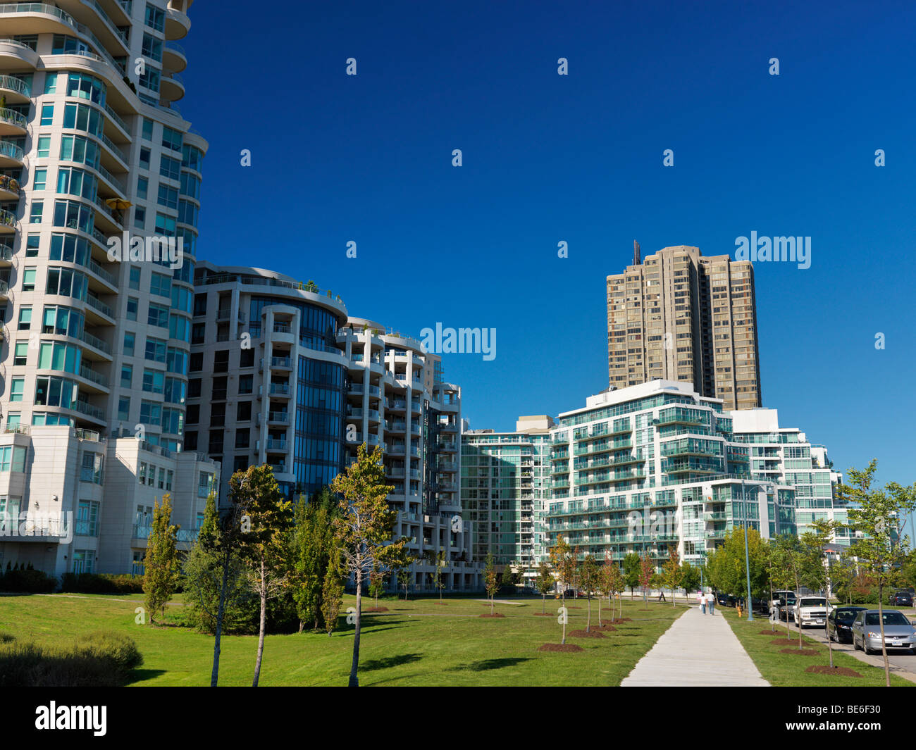 Upscale condo buildings in a new residential neighbourhood - Stock Image