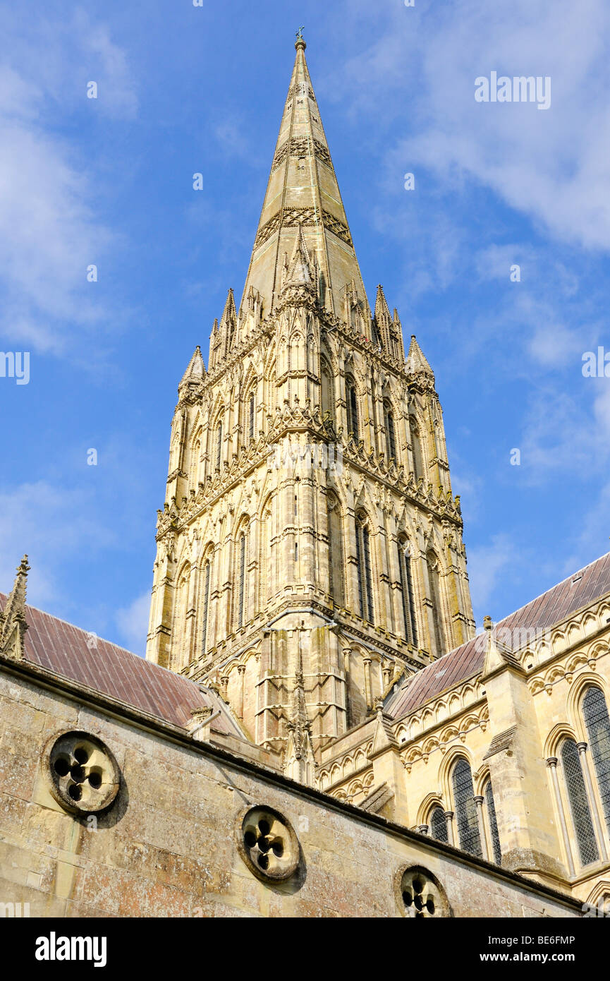 The 123-meter-high crossing tower of St. Mary's Cathedral in Salisbury, Wiltshire, England, United Kingdom, - Stock Image