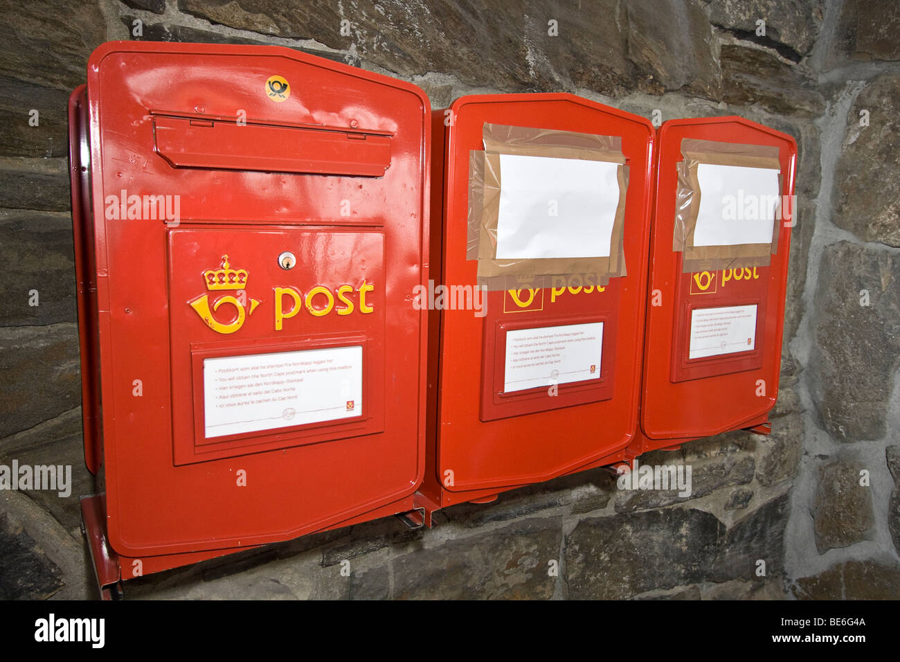 Northernmost postal boxes in Europe, located at the visitor center at North Cape, Europe's northernmost point. - Stock Image