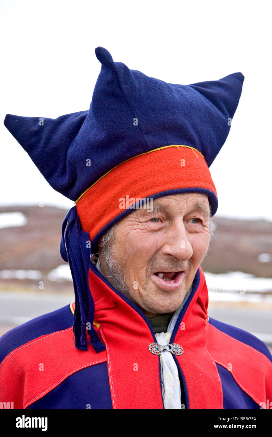 Elderly Sami man in traditional clothing stands by his tent near the town  of Honningsvag d76143a0d72