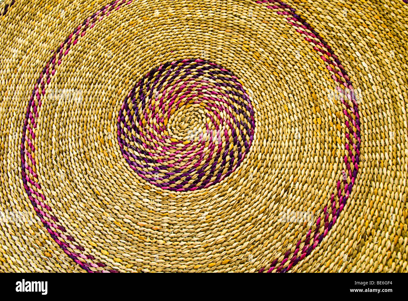 Woven mat in handicrafts market in Puerto Varas, Los Lagos Region (Lake District) of Chile - Stock Image