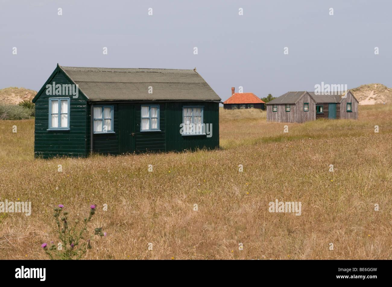 Wooden huts at Blakeney Point, Norfolk. Stock Photo