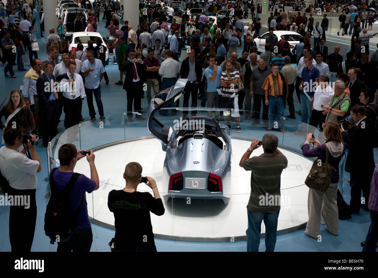 Volkswagen L1 ultra low fuel consumption concept vehicle on display at the Frankfurt Motor Show 2009 - Stock Image