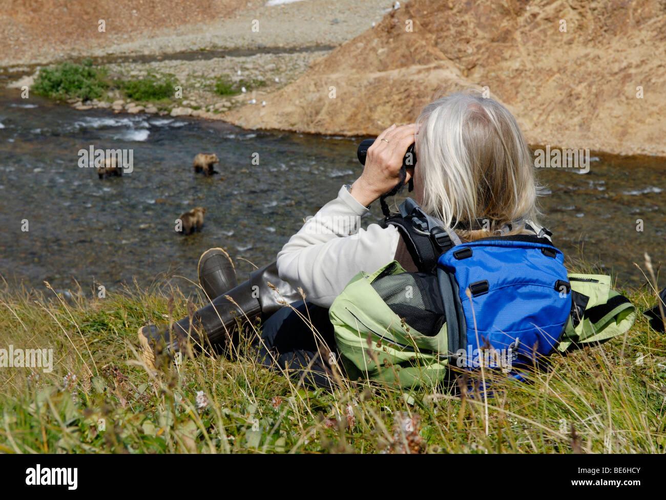Bear watching, Katmai National Park, Alaska - Stock Image