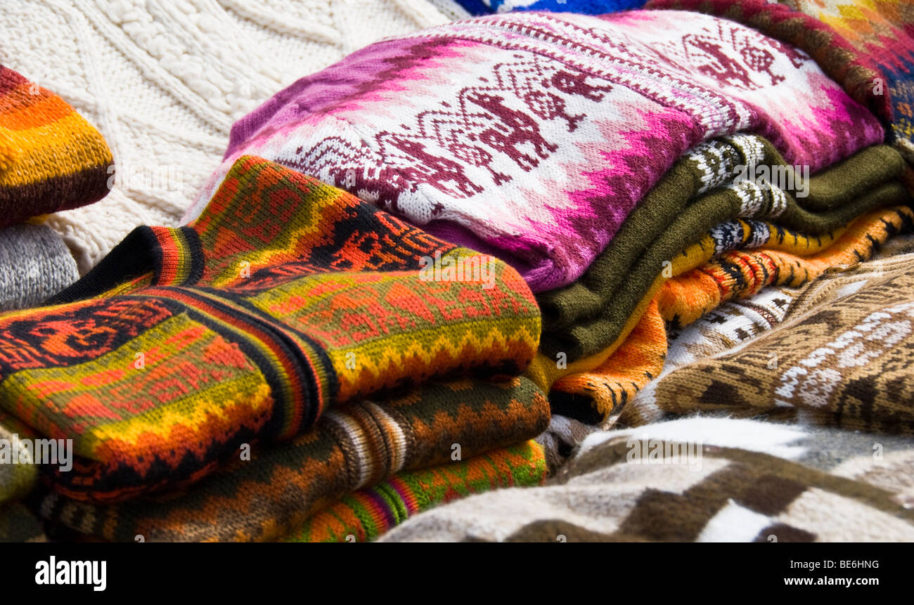 Wool handicrafts in city of Punta Arenas, Chile - Stock Image