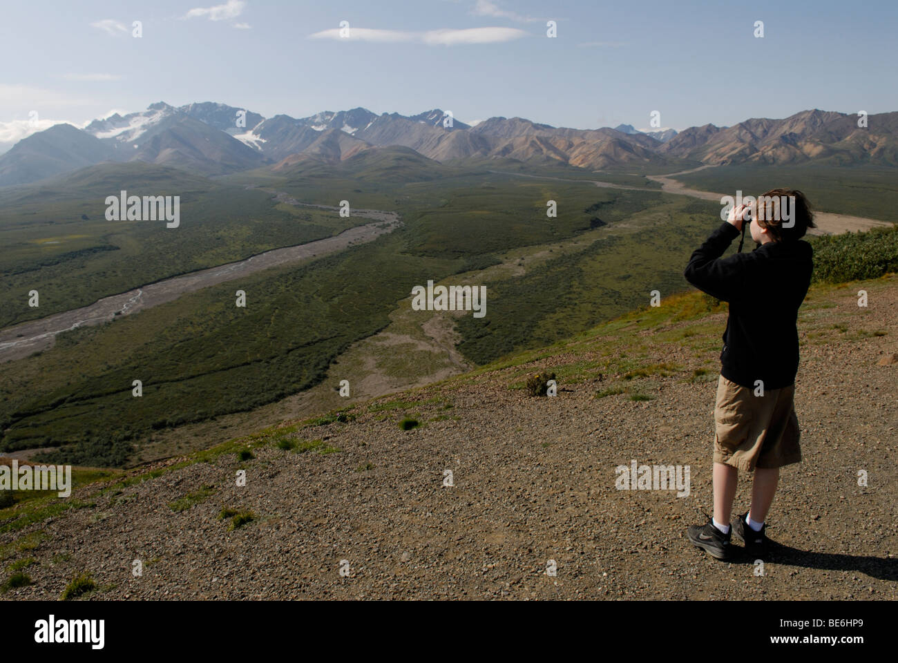 Boy looking out at the view with binoculars from Polychrome Overlook, Denali National Park - Stock Image