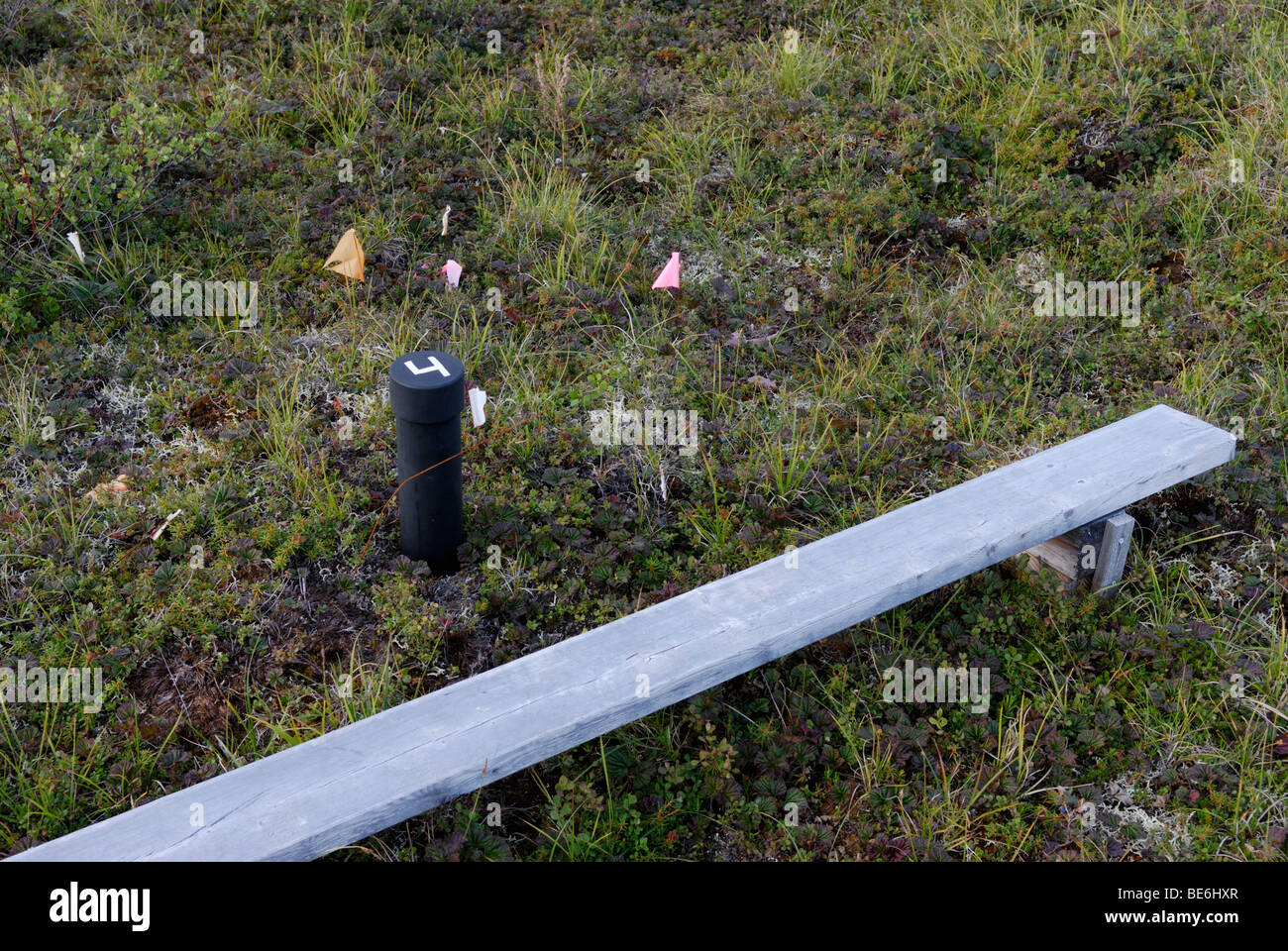 Tundra permafrost climate change long-term research site. A pipe allows access to CO2 gases released by melting - Stock Image