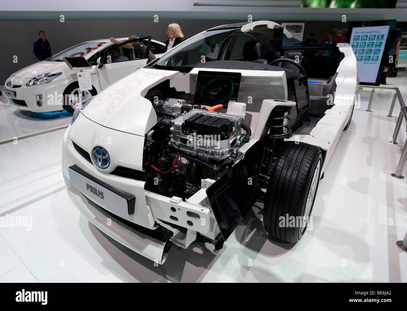 Cut away model of the new Toyota Prius hybrid saloon car at the Frankfurt Motor Show 2009 - Stock Image