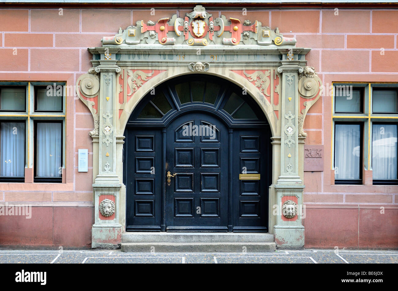Portal of the government of the government presidium, Freiburg im Breisgau, Black Forest, Baden-Wuerttemberg, Germany, - Stock Image