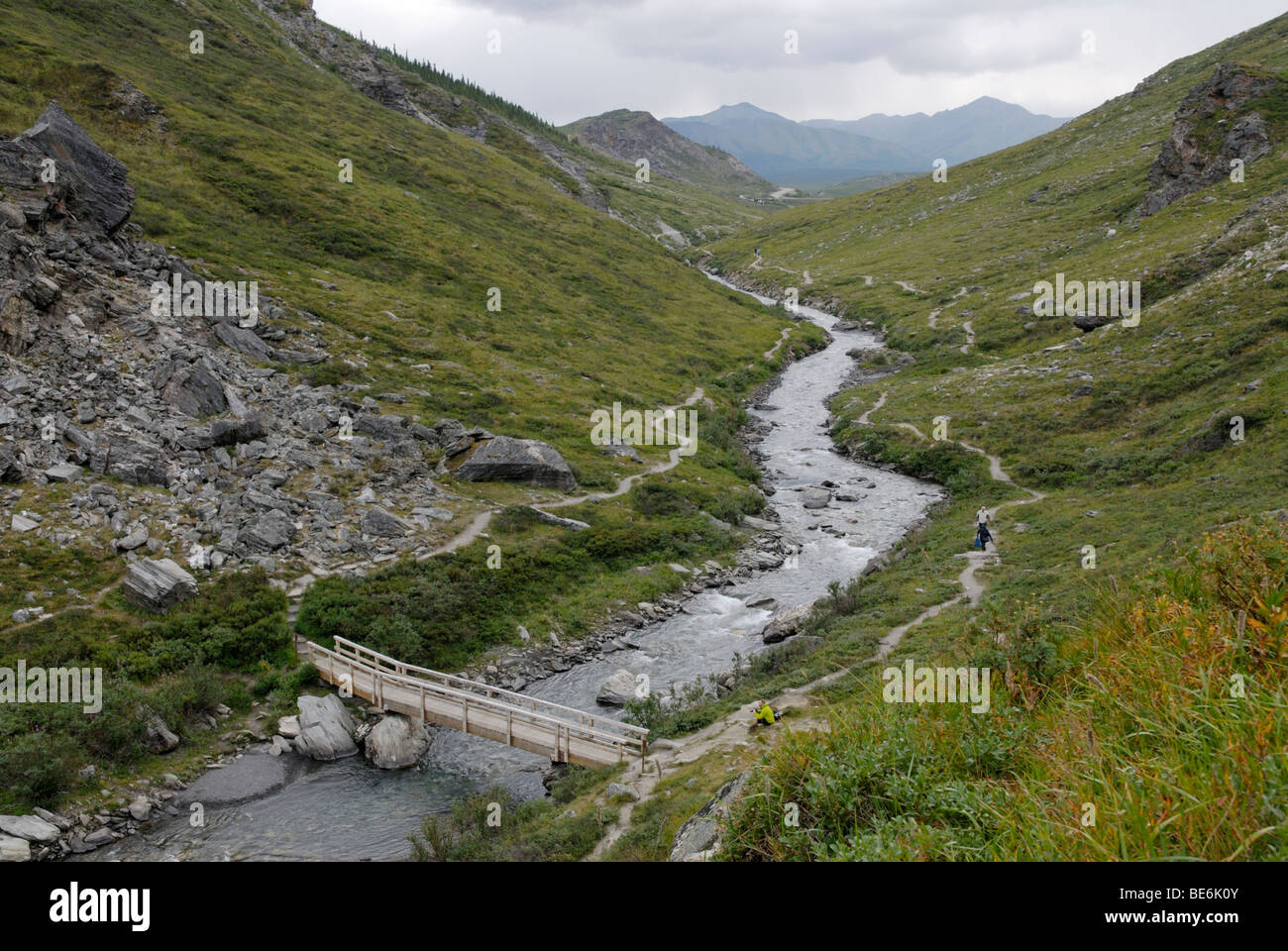 Savage River, with hiking trails, Denali National Park - Stock Image