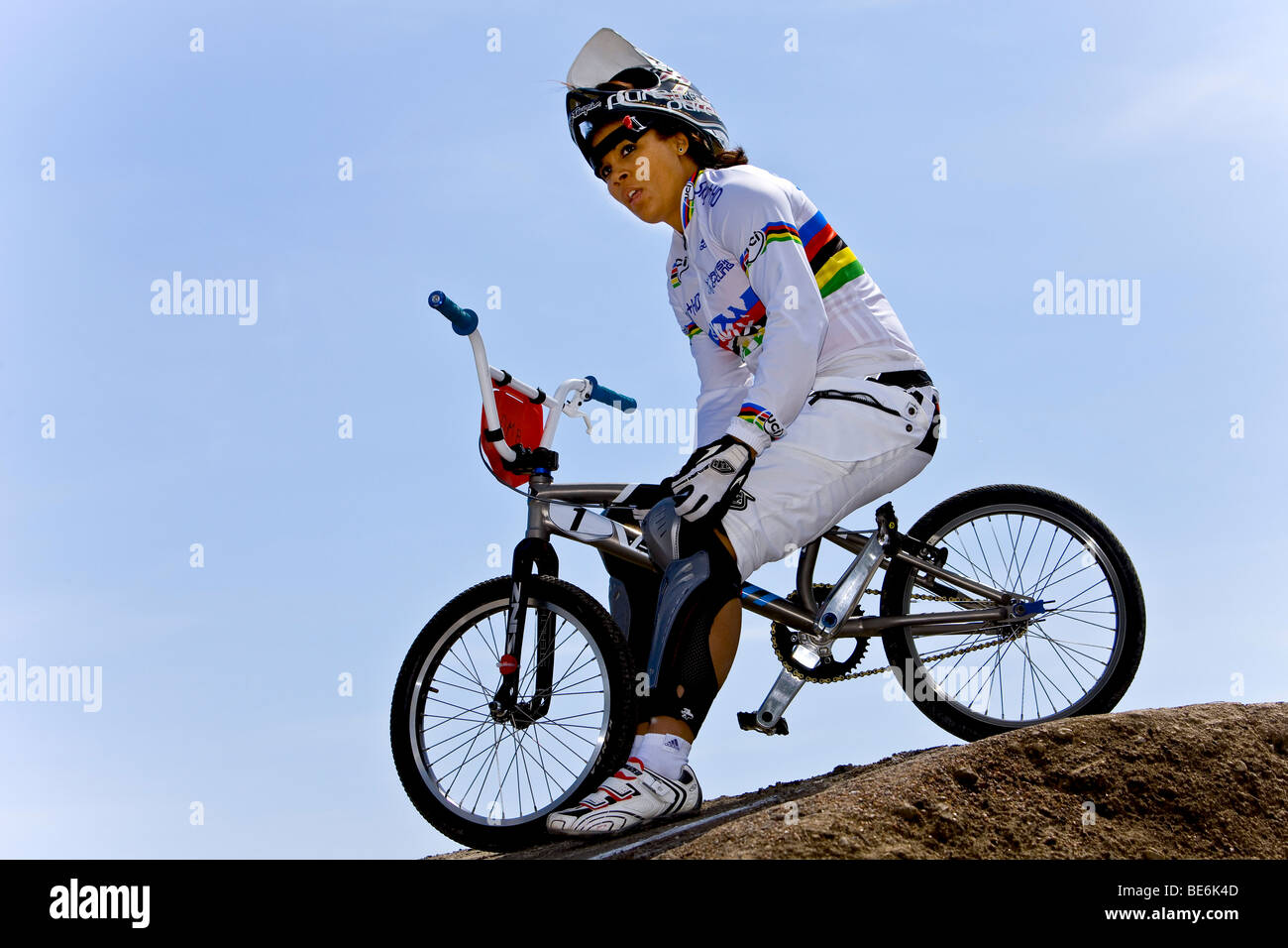 Shanaze Reade from Great Britain, winner of Elite Women's race at the BMX Supercross World Cup in Copenhagen, - Stock Image