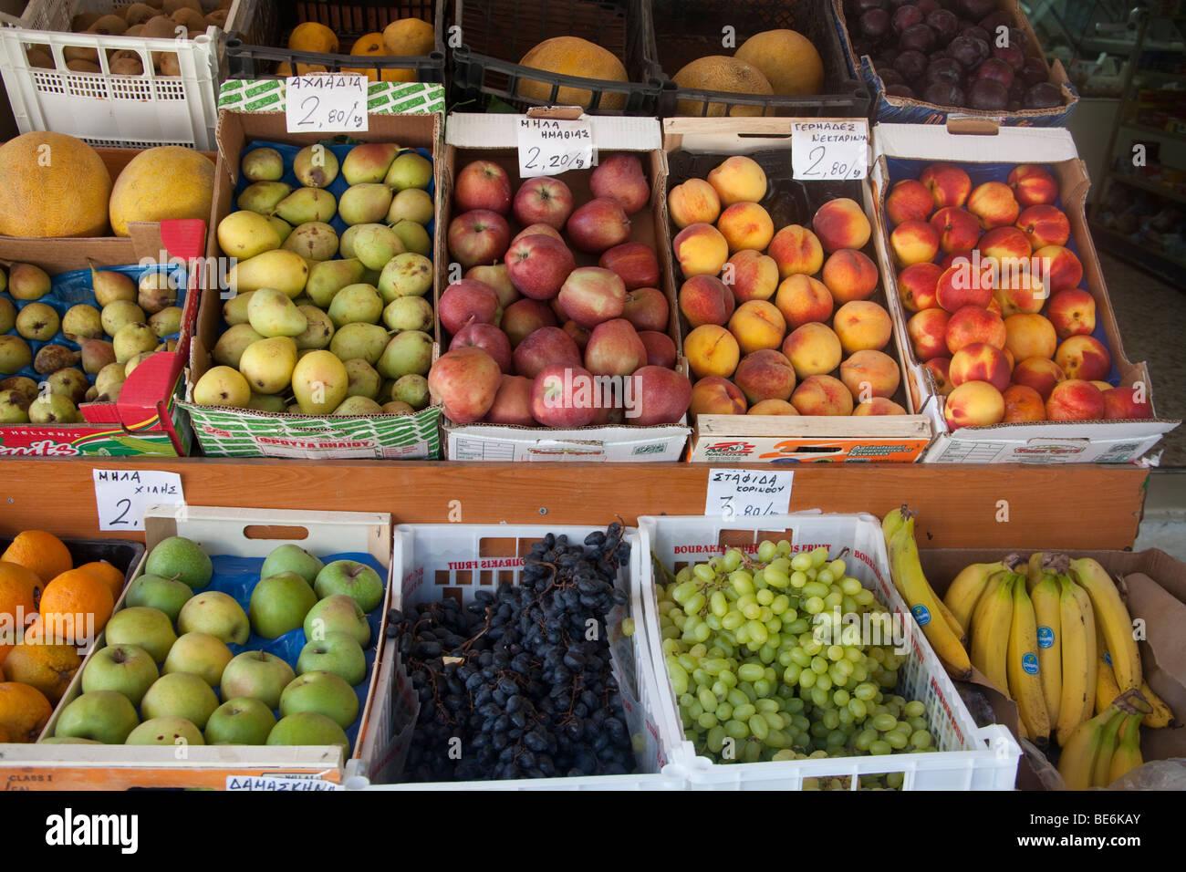 fresh fruits in cases,fresh,fruits,greengrocer's shop,Skiathos - Stock Image