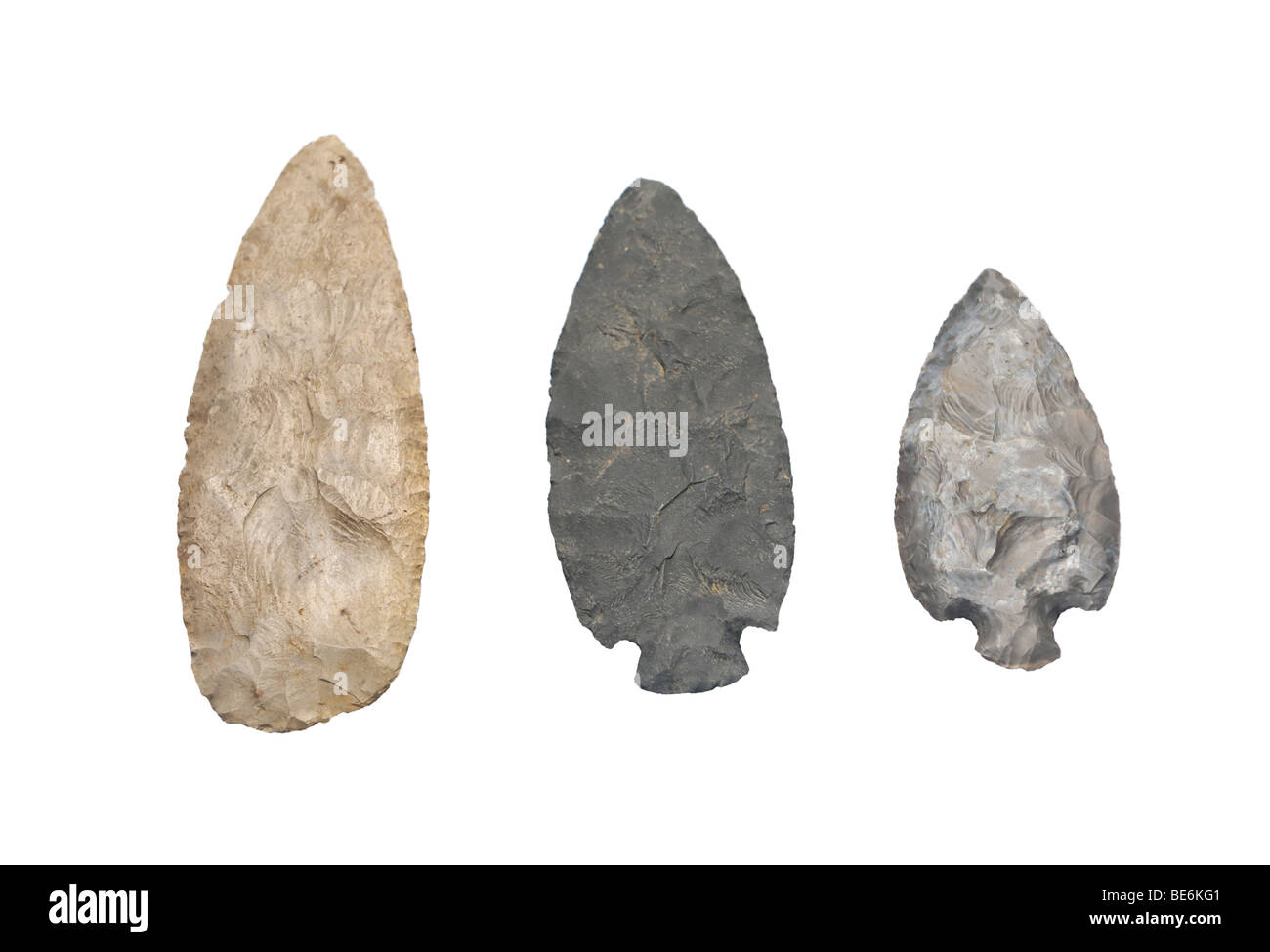 Native American spear points made of stone - Stock Image