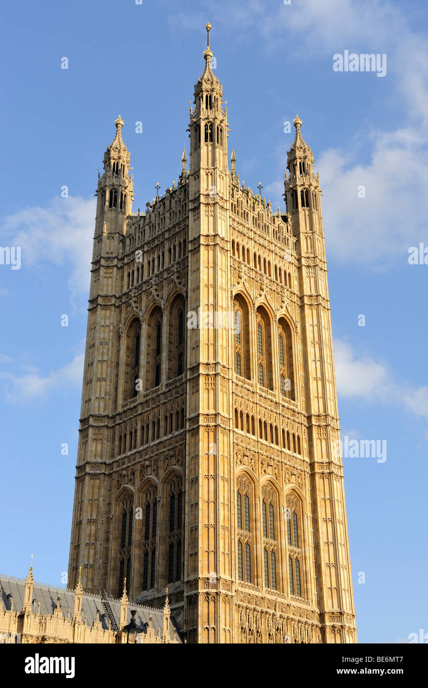 The nearly 100 meter high Victoria Tower at the southwest part of Westminster Palace, London, England, United Kingdom, - Stock Image