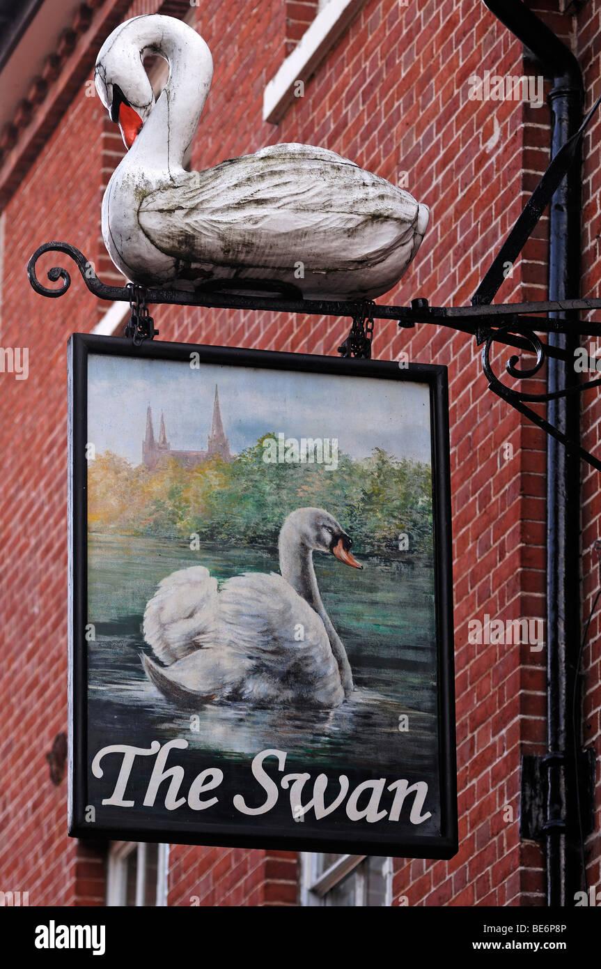 "Pub sign ""The Swan"", Bird Street, Lichfield, Staffordshire, England, United Kingdom, Europe Stock Photo"