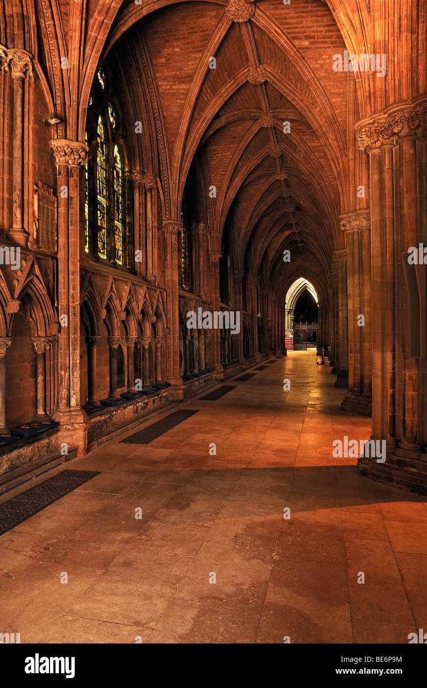 Cross vault of the nave of Lichfield Cathedral, Decorated Style, English Gothic, 1256-1340, The Close, Lichfield, - Stock Image