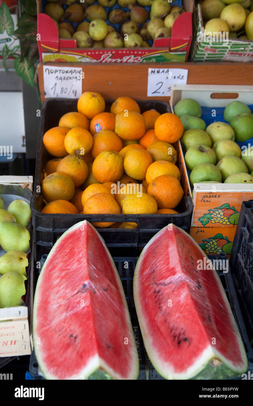 fresh fruits in a greengrocer's shop,Skiathos,Greece Stock Photo