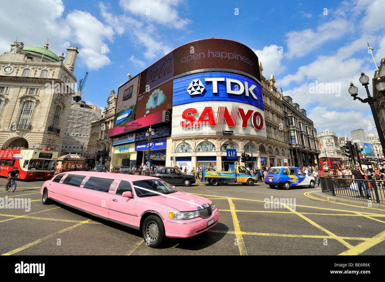 Street scene on Piccadilly Circus, London, England, United Kingdom, Europe - Stock Image