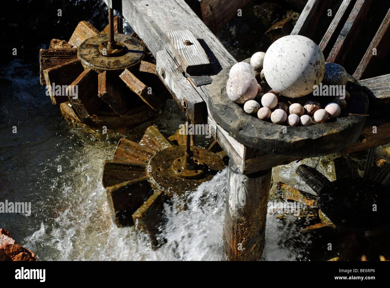 Stone ball mill Kugelmuehle an der Almbachklamm gorge near Marktschellenberg, Berchtesgadener Land, Upper Bavaria, - Stock Image